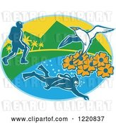 Vector Clip Art of Retro Hiker Scuba Diver and Red Billed Tropicbird with Black Eyed Susan Flowers on an Island in an Oval by Patrimonio