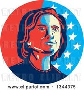 Vector Clip Art of Retro Hillary Clinton Stencil Portrait by Patrimonio