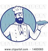 Vector Clip Art of Retro Hipster Chef Holding Chocolate in a Blue Circle by Patrimonio