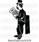 Vector Clip Art of Retro Hobo Guy Looking for a Job by Prawny Vintage