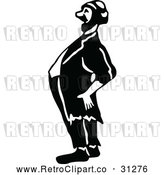 May 4th, 2018: Vector Clip Art of Retro Hobo Man Laughing by Prawny Vintage