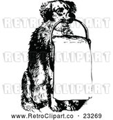 Vector Clip Art of Retro Holding a Sign in a Basket by Prawny Vintage