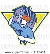 Vector Clip Art of Retro Home Builder with a Hammer, Carrying a House over a Triangle of Rays by Patrimonio