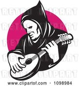 Vector Clip Art of Retro Hooded Guy Playing a Banjo over a Pink Circle by Patrimonio