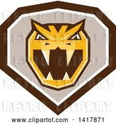 Vector Clip Art of Retro Horned Viper Snake Head in a Brown White and Taupe Crest by Patrimonio