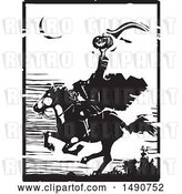 Vector Clip Art of Retro Horse Back Headless Horseman Holding up a Jackolantern in Balck and White Woodcut by Xunantunich