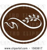 Vector Clip Art of Retro Horse Ending in a Leafy Branch Within a White and Brown Oval by Patrimonio