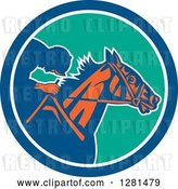 Vector Clip Art of Retro Horse Racing Jockey in a Blue White and Turquoise Circle by Patrimonio