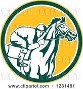 Vector Clip Art of Retro Horse Racing Jockey in a Yellow Green and White Circle by Patrimonio