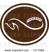 Vector Clip Art of Retro Horse with a Malt Wheat Tail, Forming a Mobius Strip in a Brown and White Oval by Patrimonio