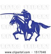 Vector Clip Art of Retro Horseback Calvary Soldier Charting with a Sword by Patrimonio
