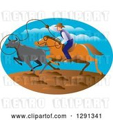 Vector Clip Art of Retro Horseback Cowboy Roping Cattle in an Oval by Patrimonio