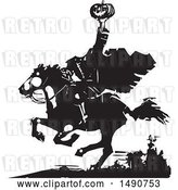 Vector Clip Art of Retro Horseback Headless Horseman Holding up a Jackolantern in Balck and White Woodcut by Xunantunich