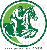 Vector Clip Art of Retro Horseback Jockey in a Green and White Circle by Patrimonio