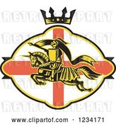 Vector Clip Art of Retro Horseback Jousting Knight Leaping over an English Flag Oval and Crown by Patrimonio