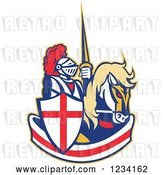 Vector Clip Art of Retro Horseback Jousting Knight over an English Flag Banner by Patrimonio
