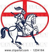 Vector Clip Art of Retro Horseback Jousting Knight over an English Flag Oval by Patrimonio