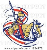 Vector Clip Art of Retro Horseback Knight with an English Flag Banner by Patrimonio
