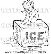 Vector Clip Art of Retro Hot Baby Sitting on Ice by Prawny Vintage