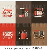 Vector Clip Art of Retro Hot Coffee Icons by Elena