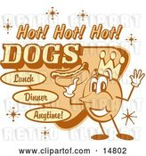"Vector Clip Art of Retro Hot Dog Advertisement Showing a Circular King Character Holding a Hotdog and Text Reading ""Hot! Hot! Hot! Dogs Lunch Dinner Anytime!"" by Andy Nortnik"