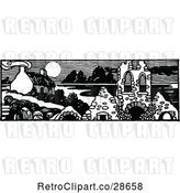 Vector Clip Art of Retro House and Ruins Panorama by Prawny Vintage