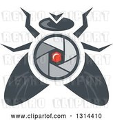 Vector Clip Art of Retro House Fly with a Camera Lens Body by Patrimonio