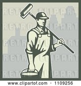 Vector Clip Art of Retro House Painter Carrying a Bucket and Roller Brush in a City by Patrimonio