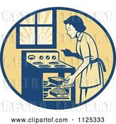 Vector Clip Art of Retro House Wife Cooking Meats in an Oven by Patrimonio