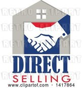 Vector Clip Art of Retro House with Shaking Hands and Direct Selling Text by Patrimonio