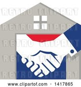 Vector Clip Art of Retro House with Shaking Hands by Patrimonio