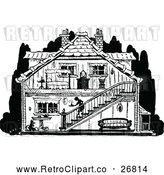 Vector Clip Art of Retro House with Visible Interior by Prawny Vintage