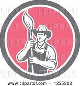 Vector Clip Art of Retro Housepainter with an Art Paintbrush in a Circle by Patrimonio