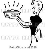 Vector Clip Art of Retro Housewife Carrying a Fresh Casserole by BestVector
