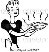 Vector Clip Art of Retro Housewife Carrying a Fresh Pie by BestVector