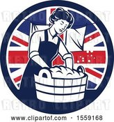 Vector Clip Art of Retro Housewife Doing Laundry in a British Flag Circle by Patrimonio