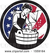 Vector Clip Art of Retro Housewife Doing Laundry in an American Flag Circle by Patrimonio