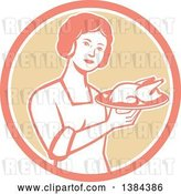 Vector Clip Art of Retro Housewife Holding a Roasted Chicken on a Plate in a Pink White and Tan Circle by Patrimonio