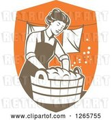 Vector Clip Art of Retro Housewife Lady Doing Laundry in a Brown and Orange Shield by Patrimonio