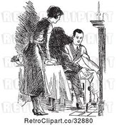 Vector Clip Art of Retro Housewife Setting a Fireside Table for Her Husband by Picsburg