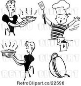 Vector Clip Art of Retro Housewifes and Boy Cooking by BestVector