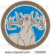 Vector Clip Art of Retro Howling Buck Deer in a Brown White and Blue Circle by Patrimonio