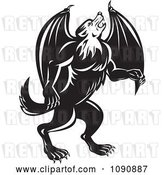 Vector Clip Art of Retro Howling Wolf Bat by Patrimonio