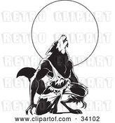 Vector Clip Art of Retro Howling Wolfman in Torn Clothes, Kneeling in Front of a Full Moon by Lawrence Christmas Illustration
