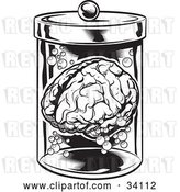 Vector Clip Art of Retro Human Brain and Bubbles Floating in a Specimen Jar in a Research Laboratory by Lawrence Christmas Illustration