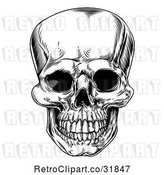 Vector Clip Art of Retro Human Skull by AtStockIllustration