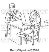 Vector Clip Art of Retro Hungry Guy Eating His Menu While out with a Lady by Picsburg