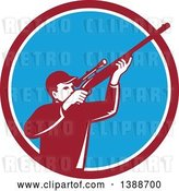 Vector Clip Art of Retro Hunter Aiming a Shotgun in a Maroon White and Blue Circle by Patrimonio