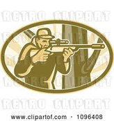 Vector Clip Art of Retro Hunter Aiming a Telescope Rifle by a Tree by Patrimonio