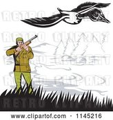 Vector Clip Art of Retro Hunter Aiming at a Goose by Patrimonio
